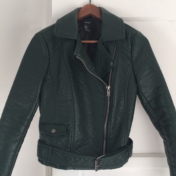 ee49fe564 Forever21 hunter green faux leather moto jacket